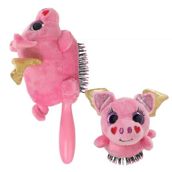 Vaikiškas šepetys Wet Brush Plush Brush Flying Pig, rožinė kiaulytė