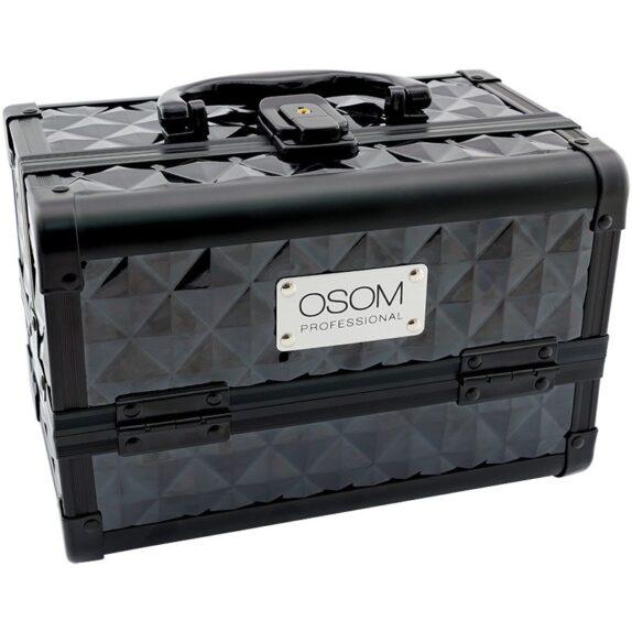 Lagaminas Osom, plastikinis su aliuminėmis apdailomis, juodas